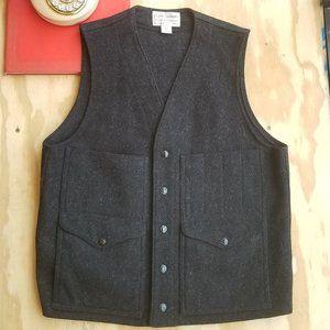 Filson M Charcoal Mackinaw Wool Button Up Vest